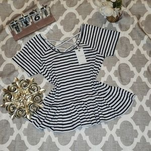 Lucky Brand Peplum Striped Top